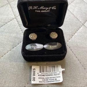 Halo Sterling Silver & 1/10 ct Diamond Earrings